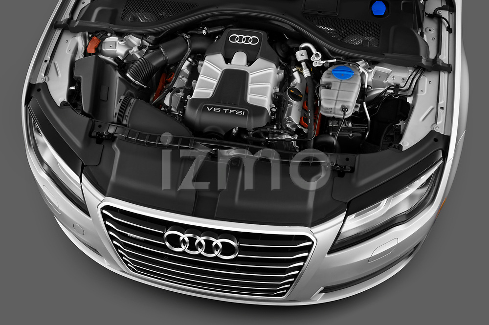 Car stock 2012 Audi A7 Sportback 4 Door Hatchback engine high angle detail view