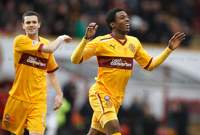Omar Daley celebrates after opening the scoring for Motherwell