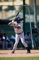 Detroit Tigers Daz Cameron (38) at bat during an Instructional League game against the Atlanta Braves on October 10, 2017 at the ESPN Wide World of Sports Complex in Orlando, Florida.  (Mike Janes/Four Seam Images)