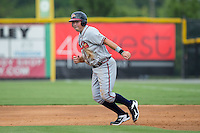 Jeff Campbell (39) of the Danville Braves takes off for second base during the game against the Burlington Royals at Burlington Athletic Park on July 12, 2015 in Burlington, North Carolina.  The Royals defeated the Braves 9-3. (Brian Westerholt/Four Seam Images)