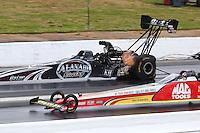 May 19, 2014; Commerce, GA, USA; NHRA top fuel driver Shawn Langdon during the Southern Nationals at Atlanta Dragway. Mandatory Credit: Mark J. Rebilas-USA TODAY Sports