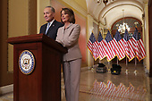 WASHINGTON, DC - JANUARY 08: Speaker of the House Nancy Pelosi (D-CA) (R) and Senate Minority Leader Charles Schumer (D-NY) pose for photographs after delivering a televised response to President Donald Trump's national address about border security at the U.S. Capitol January 08, 2019 in Washington, DC. Republicans and Democrats seem no closer to an agreement on security along the southern border and ending the partial federal government shutdown, the second-longest in history. <br /> Credit: Chip Somodevilla / Pool via CNP
