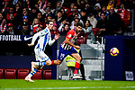 Diego Costa of Atletico de Madrid (R) in action against Aritz Elustondo of Real Sociedad (L) during the La Liga 2018-19 match between Atletico de Madrid and Real Sociedad at Wanda Metropolitano on October 27 2018 in Madrid, Spain.  Photo by Diego Souto / Power Sport Images