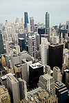 An aerial view of downtown Chicago, Illinois.