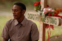 Trabalhador rural, participa  de cerimônia durante missa em homenagem a irmã Dorothy Stang, assassinada a seis meses .<br />Anapú, Pará, Brasil<br />Foto Paulo Santos/Interfoto<br />12/08/2005