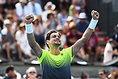 10th January 2018, ASB Tennis Centre, Auckland, New Zealand; ASB Classic, ATP Mens Tennis;  David Ferrer (ESP) celebrates his win over Joao Sousa (POR) during the ASB Classic ATP Men's Tournament Day 3