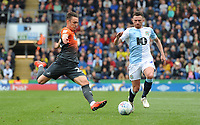 Blackburn Rovers' Corry Evans vies for possession with Swansea City's Connor Roberts<br /> <br /> Photographer Kevin Barnes/CameraSport<br /> <br /> The EFL Sky Bet Championship - Blackburn Rovers v Swansea City - Sunday 5th May 2019 - Ewood Park - Blackburn<br /> <br /> World Copyright © 2019 CameraSport. All rights reserved. 43 Linden Ave. Countesthorpe. Leicester. England. LE8 5PG - Tel: +44 (0) 116 277 4147 - admin@camerasport.com - www.camerasport.com
