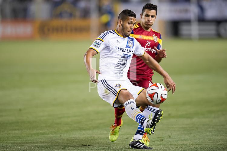 CARSON, CA - March 8, 2014: LA Galaxy vs Real Salt Lake match at the StubHub Center in Carson, California. Final score, LA Galaxy 0, Real Salt Lake  1.
