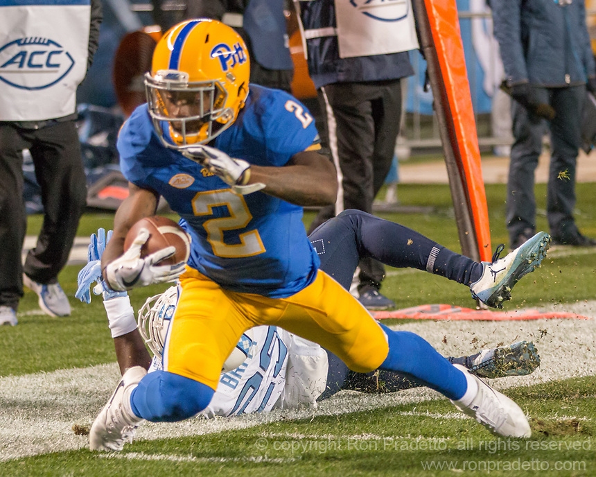 Pitt wide receiver Maurice Ffrench. The North Carolina Tarheels defeated the Pitt Panthers football team 34-31 at Heinz Field, Pittsburgh, Pennsylvania on November 9, 2017.