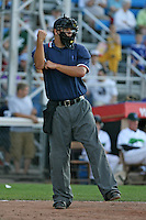 June 23, 2009:  Home plate umpire Aaron Larsen makes a call during a game at Russell Diethrick Park in Jamestown, NY.  Photo by:  Mike Janes/Four Seam Images