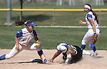 Western Nevada&rsquo;s Briauna Carter tries to slide around the tag of College of Southern Nevada&rsquo;s Jinger Meuir at Edmonds Sports Complex in Carson City, Nev., on Friday, April 1, 2016. CSN&rsquo;s Jessica Clifford is at right. <br />Photo by Cathleen Allison/Nevada Photo Source