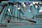 A range of laparoscopic equipment used for surgery. Royalty Free