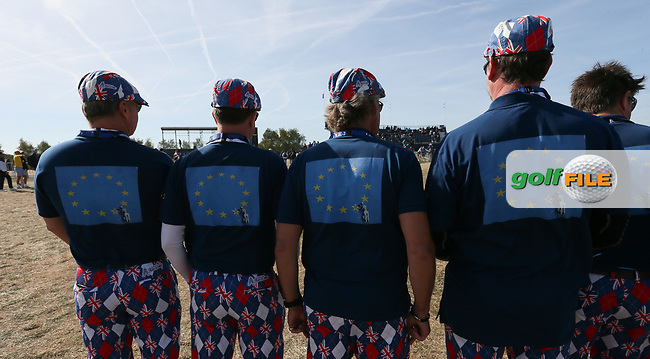 Brexit fans during Saturday's Fourballs, at the Ryder Cup, Le Golf National, Île-de-France, France. 29/09/2018.<br /> Picture David Lloyd / Golffile.ie<br /> <br /> All photo usage must carry mandatory copyright credit (© Golffile | David Lloyd)