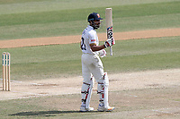 Ravi Bopara of Essex raises his bat to celebrate reaching his fifty during Essex CCC vs Somerset CCC, Specsavers County Championship Division 1 Cricket at The Cloudfm County Ground on 28th June 2018