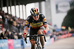 Belgian Champion Yves Lampaert (BEL) Deceuninck-Quick Step crosses the finish line in 3rd place at the end of the 117th edition of Paris-Roubaix 2019, running 257km from Compiegne to Roubaix, France. 14th April 2019<br /> Picture: ASO/Pauline Ballet | Cyclefile<br /> All photos usage must carry mandatory copyright credit (&copy; Cyclefile | ASO/Pauline Ballet)