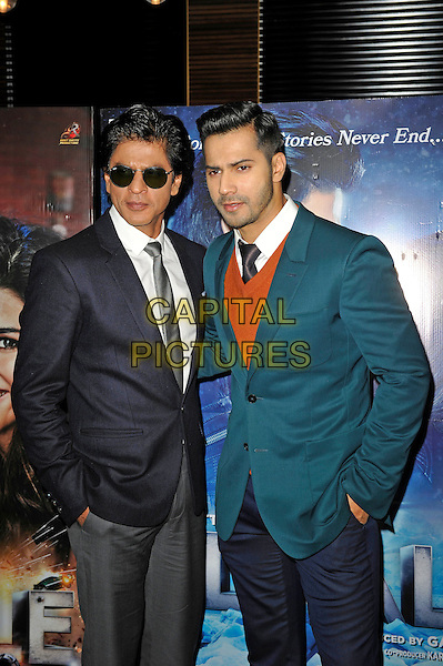 LONDON, ENGLAND - DECEMBER 1:  Shah Rukh Khan and Varun Dhawan attending the 'Dilwale' photocall at Montcalm Hotel on December 1, 2015 in London, England.<br /> CAP/MAR<br /> &copy;MAR/Capital Pictures