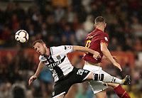 Football, Serie A: AS Roma - Parma, Olympic stadium, Rome, May 26, 2019. <br /> Parma's Riccardo Gagliolo (l) in action with Roma's Edin Dzeko (r) during the Italian Serie A football match between Roma and Parma at Olympic stadium in Rome, on May 26, 2019.<br /> UPDATE IMAGES PRESS/Isabella Bonotto
