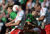 FUSSBALL   1. BUNDESLIGA   SAISON 2012/2013   2. Spieltag SV Werder Bremen - Hamburger SV                     01.09.2012         Sebastian Proedl (li) und Sokratis Papastathopoulos (3. v.l., beide SV Werder Bremen) gegen Heiko Westermann (li) und Jeffrey Bruma (re, beide Hamburger SV)
