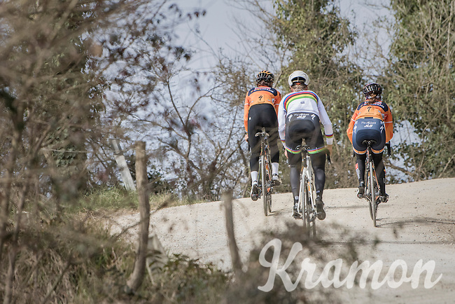 Team Boels-Dolmans during the 2017 Strade Bianche recon (the day before the race) with elite women's road world champion Amalie Dideriksen (DEN/Boels-Dolmans)