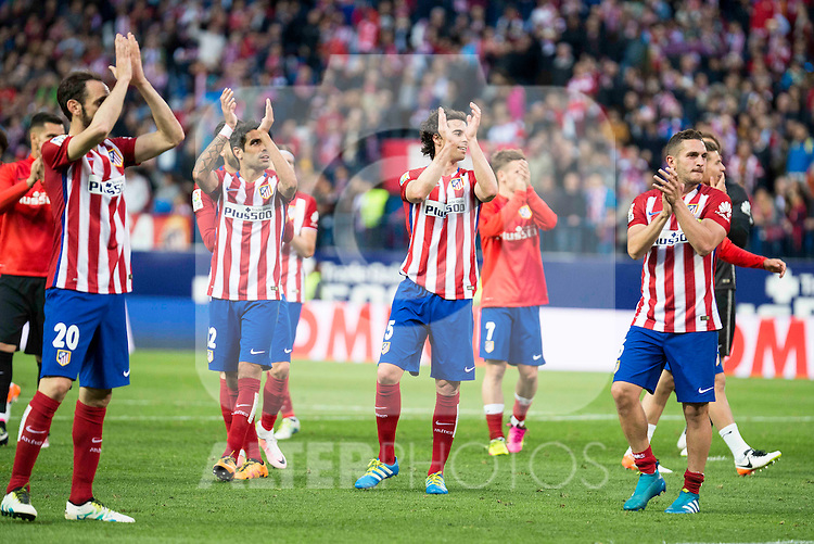 Atletico de Madrid's Juanfran, Augusto, Tiago and Koke during La Liga Match at Vicente Calderon Stadium in Madrid. May 14, 2016. (ALTERPHOTOS/BorjaB.Hojas)