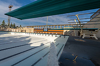 Filling the pool with water for the first time.<br /> The new pool of the De Mandel Aquatic Center at Occidental College, Dec. 12, 2019.<br /> (Photo by Marc Campos, Occidental College Photographer)