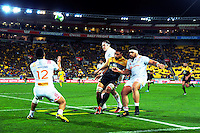 Anton Lienert-Brown takes a restart during the Super Rugby semifinal match between the Hurricanes and Chiefs at Westpac Stadium, Wellington, New Zealand on Saturday, 30 July 2016. Photo: Dave Lintott / lintottphoto.co.nz