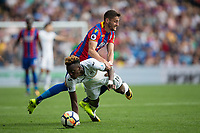 Swansea City's Tammy Abraham is fouled by Crystal Palace's Joel Ward     <br /> <br /> <br /> Photographer Craig Mercer/CameraSport<br /> <br /> The Premier League - Crystal Palace v Swansea City - Saturday 26th August 2017 - Selhurst Park - London<br /> <br /> World Copyright &copy; 2017 CameraSport. All rights reserved. 43 Linden Ave. Countesthorpe. Leicester. England. LE8 5PG - Tel: +44 (0) 116 277 4147 - admin@camerasport.com - www.camerasport.com