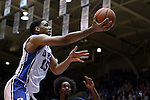 04 November 2014: Duke's Jahlil Okafor. The Duke University Blue Devils hosted the Livingstone College Blue Bears at Cameron Indoor Stadium in Durham, North Carolina in an NCAA Men's Basketball exhibition game.