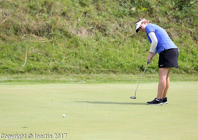 SIOUX FALLS, SD - AUGUST 31: Sara Banke rolls her birdie putt on the 7th green, her 16th hole, during the first round of the Great Life Challenge, Symetra Tour stop at Willow Run Thursday afternoon. (Photo by Dave Eggen/Inertia)