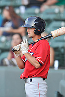 Left fielder Zachary Coppola (2) of the Lakewood BlueClaws bats in a game against the Greenville Drive on Thursday, June 23, 2016, at Fluor Field at the West End in Greenville, South Carolina. Lakewood won, 8-7. (Tom Priddy/Four Seam Images)