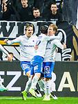 ***BETALBILD***  <br /> Solna 2015-05-10 Fotboll Allsvenskan AIK - IFK Norrk&ouml;ping :  <br /> Norrk&ouml;pings Alexander Fransson firar sitt 0-1 m&aring;l med Christoffer Nyman , Nikola Tkalcic  , Andreas Hadenius och Linus Wahlqvist under matchen mellan AIK och IFK Norrk&ouml;ping <br /> (Foto: Kenta J&ouml;nsson) Nyckelord:  AIK Gnaget Friends Arena Allsvenskan IFK Norrk&ouml;ping jubel gl&auml;dje lycka glad happy