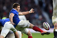 Antoine Dupont of France box-kicks the ball. Guinness Six Nations match between England and France on February 10, 2019 at Twickenham Stadium in London, England. Photo by: Patrick Khachfe / Onside Images