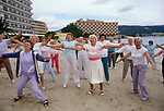 Young at Heart. British seniors on winter holiday in Balearic Islands Palma Nova Majorca Spain