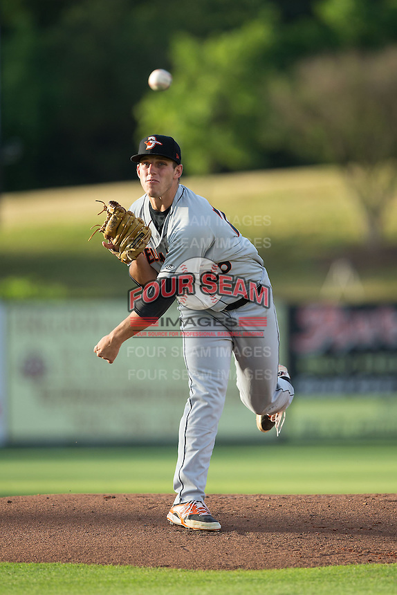 Delmarva Shorebirds starting pitcher John Means (26) in action against the Kannapolis Intimidators at CMC-Northeast Stadium on June 4, 2015 in Kannapolis, North Carolina.  The Shorebirds defeated the Intimidators 8-2.  (Brian Westerholt/Four Seam Images)