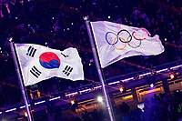 PYEONGCHANG,SOUTH KOREA,09.FEB.18 - OLYMPICS - Olympic Winter Games PyeongChang 2018, official opening ceremony. Image shows the flags of South Korea and Olympic games. Photo: GEPA pictures/ Matic Klansek / Copyright : Explorer-media