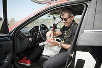 DS Valerio Piva (ITA/BMC) enjoying some strawberries before the start<br /> <br /> 2014 Tour de France<br /> stage 4: Le Touquet-Paris-Plage/Lille M&eacute;tropole (163km)
