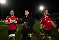Luke Romano, Wyatt Crockett and Kieran Read of the Crusaders with the trophy following the 2018 Super Rugby final between the Crusaders and Lions at AMI Stadium in Christchurch, New Zealand on Sunday, 29 July 2018. Photo: Joe Johnson / lintottphoto.co.nz