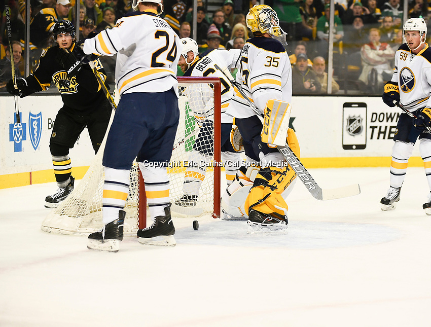March 17, 2015 - Boston, Massachusetts, U.S. - Boston Bruins left wing Loui Eriksson (21) skates behind the net after scoring a goal during the NHL match between the Buffalo Sabres and the Boston Bruins held at TD Garden in Boston Massachusetts. Eric Canha/CSM
