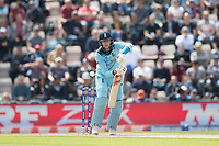 Joe Root (England) pushes into the off side during England vs West Indies, ICC World Cup Cricket at the Hampshire Bowl on 14th June 2019