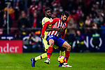 Diego Costa of Atletico de Madrid (R) in action against Samuel Umtiti of FC Barcelona (L) during the La Liga 2018-19 match between Atletico Madrid and FC Barcelona at Wanda Metropolitano on November 24 2018 in Madrid, Spain. Photo by Diego Souto / Power Sport Images