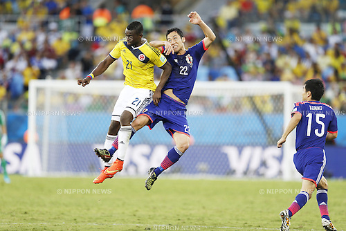 Jackson Martinez (COL), Maya Yoshida (JPN), JUNE 24, 2014 - Football / Soccer : FIFA World Cup Brazil 2014 Group C match between Japan 1-4 Colombia at the Arena Pantanal in Cuiaba, Brazil. (Photo by AFLO)