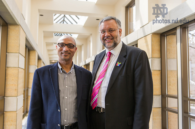 Apr. 8, 2014; Kroc Institute professor A. Rashied Omar poses for a photo with Ebrahim Rasool, South African Ambassador to the United States before the 20th annual Hesburgh Lecture in Ethics and Public Policy at the Kroc Institute.<br /> <br /> Photo by Matt Cashore/University of Notre Dame