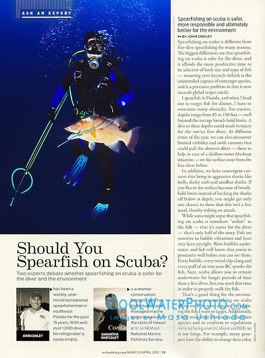 "Scuba Diving Magazine, March/April 2011, ""Ask an Expert"" Feature, P76, editorial use, USA, Image ID: Florida-Tampa-Spearfishing-0004"