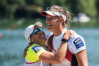 Lucerne, SWITZERLAND, 15th July 2018, Sunday Women's Single Scull Final, Pontoon, left, Gold `medalist, SUI W1X,  Jeannine GMELIN, and Bronze Medalist, CAN W1X, Carling ZEEMZN,  at the ,FISA World Cup III Lake Rotsee, © Peter SPURRIER,
