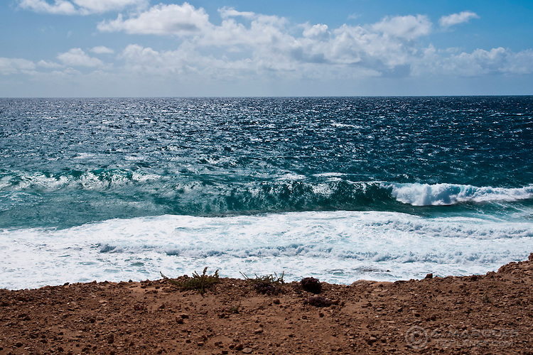 View to the Sea from a cliff near El Cortillo, Fuerteventura, Canary Islands, Spain.