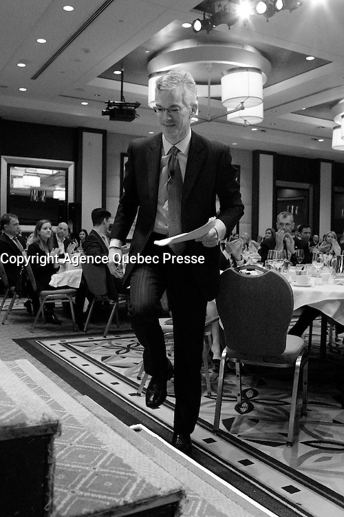 Michael Denham, president &amp; CEO Business Development Bank of Canada, deliver a speech to the Canadian Club of Montreal, Monday, April 4, 2016.<br /> <br /> Photo : Pierre Roussel<br /> - Agence Quebec Presse