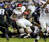 9/10/16<br /> Arkansas Democrat-Gazette/STEPHEN B. THORNTON<br /> Arkansas' Rawleigh Williams III moves through the line during the second OT  of their victory over TCU Saturday September 10, 2016 at Amon G. Carter Stadium in Ft. Worth.