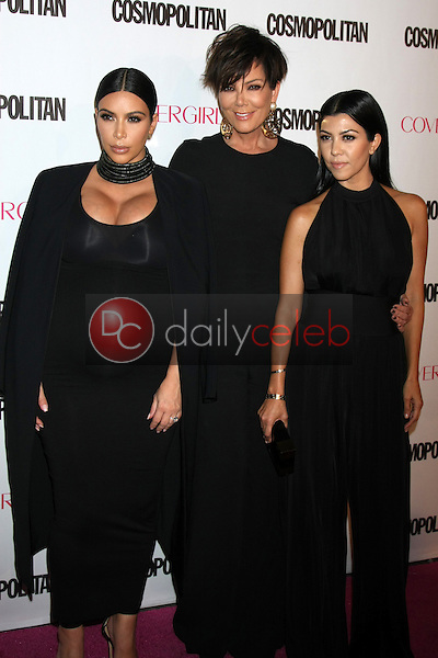 Kim Kardashian West, Kris Jenner, Kourtney Kardashian<br /> at the Cosmopolitan Magazine's 50th Anniversary Party, Ysabel, Los Angeles, CA 10-12-15<br /> David Edwards/DailyCeleb.com 818-249-4998