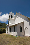 Hawaii: Molokai, church at Kalaupapa of leper priest, Father Damien de Veuster.Photo himolo164-72247.Photo copyright Lee Foster, www.fostertravel.com, lee@fostertravel.com, 510-549-2202