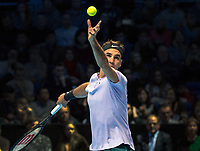 Roger Federer [SUI] serves during his match with Jack Sock (USA).  Nitto ATP Finals Tennis Championships, O2 Arena London, England 12th November.